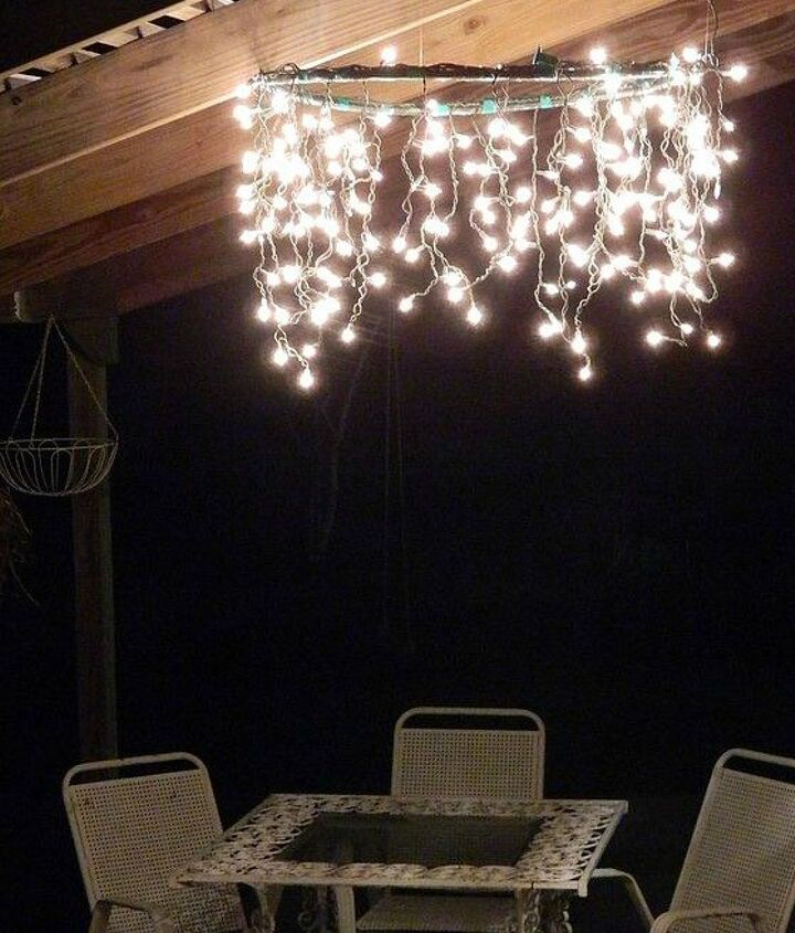 s 14 string light ideas that are cozier than your bed, bedroom ideas, lighting, Hula Hoop Chandelier