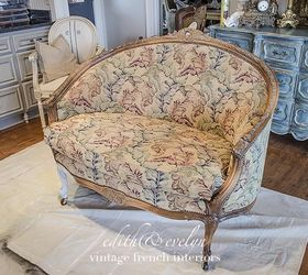 Beau Easy Upholstery A French Settee And Grain Sack Scraps, Chalk Paint, Painted  Furniture,