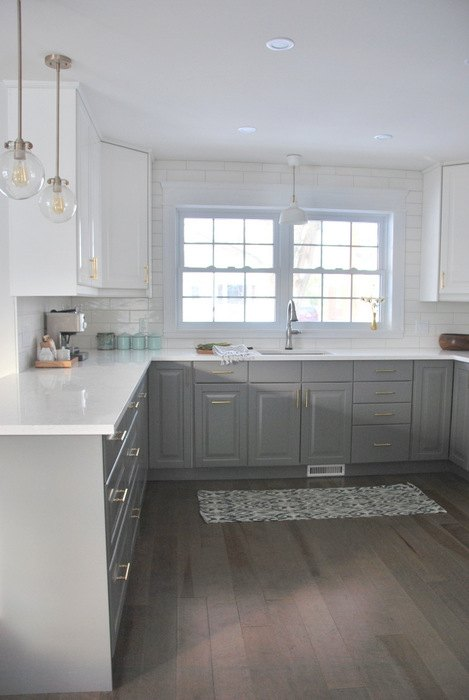 a gray and white ikea kitchen makeover, home improvement, kitchen design, painting