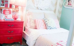 a chevron stenciled girls bedroom, bedroom ideas, painting