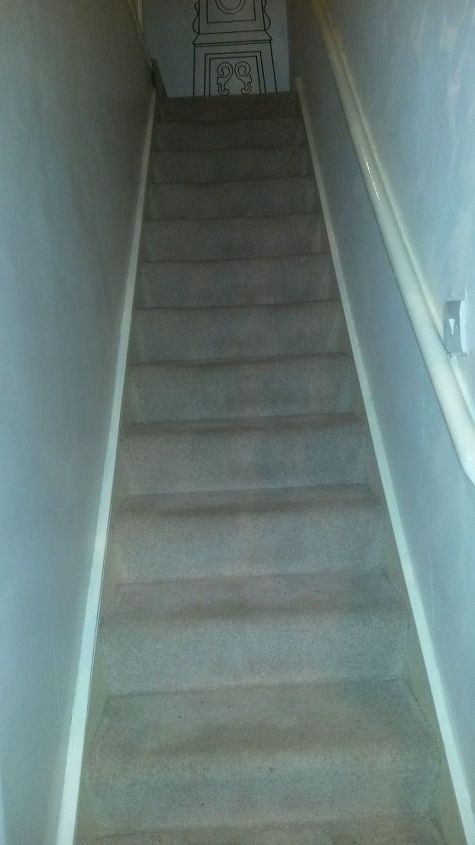 q how do i make my stairway look wider and brighter, home decor, home decor dilemma, stairs, My boring stairway