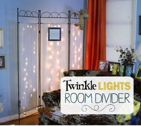 Twinkle Lights Room Divider Makeover, Living Room Ideas