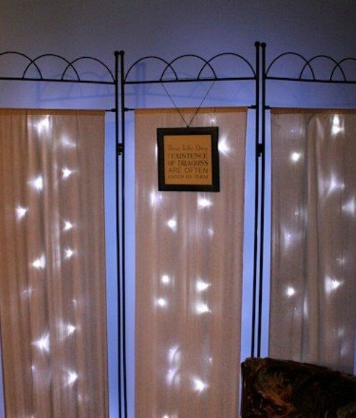 s 14 string light ideas that are cozier than your bed, bedroom ideas, lighting, Shimmering Room Divider