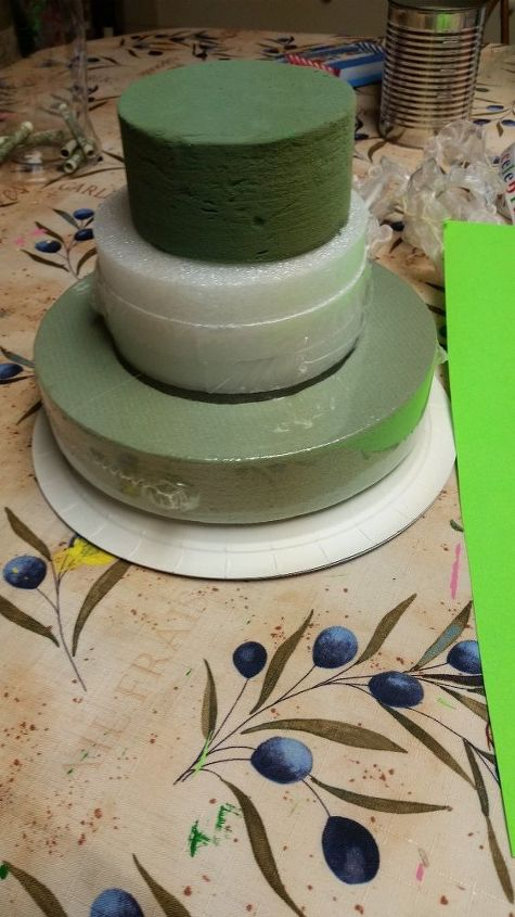 differnet way to give money on birthday s or any other occasion, crafts, Start with floral foam from dollor store