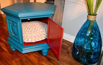 vintage table gets made into a pet bed, chalk paint, painted furniture, repurposing upcycling