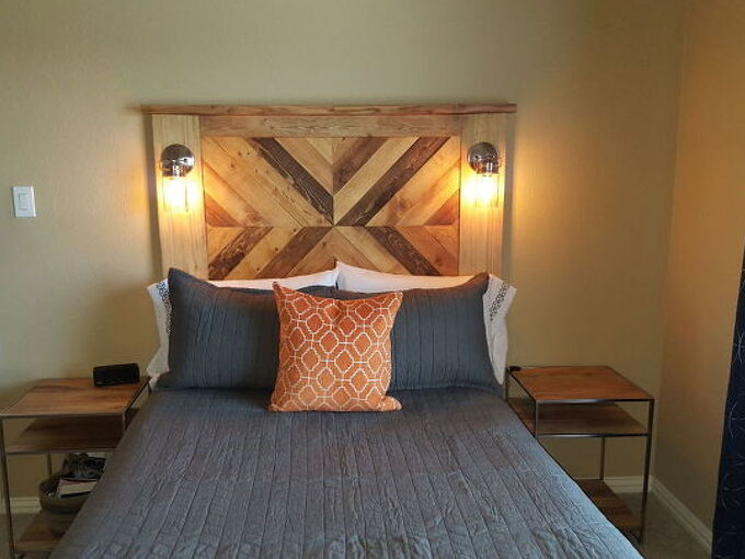 plank wood and pallet wood headboard with accent lights, bedroom ideas, diy, pallet, rustic furniture, woodworking projects