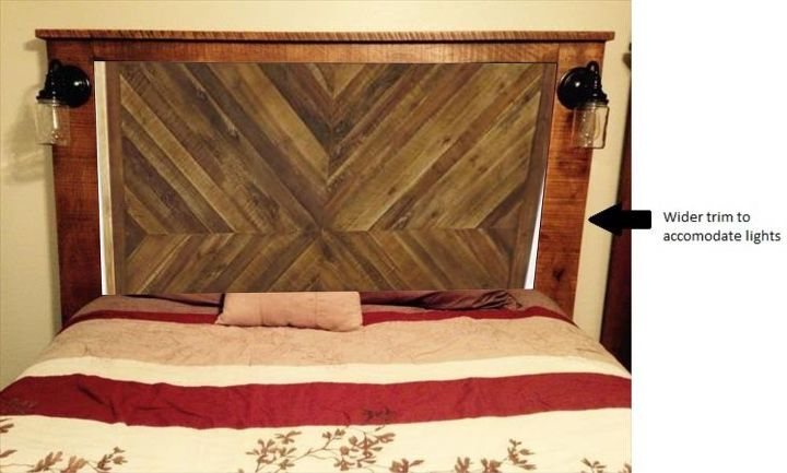 Plank Wood and Pallet Wood Headboard With Accent Lights | Hometalk