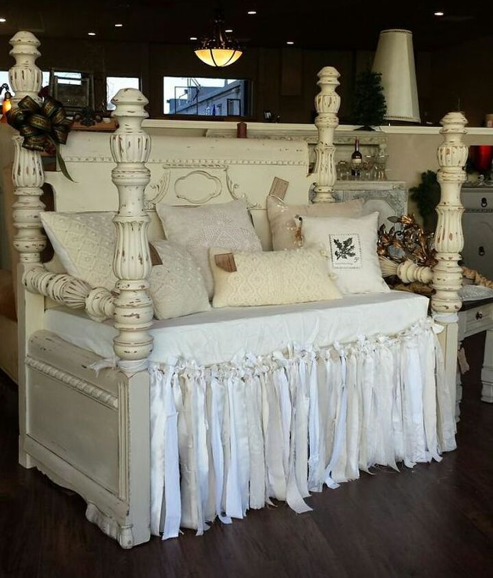 waterfall headboard and footboard repurposed into a bench, painted furniture, shabby chic
