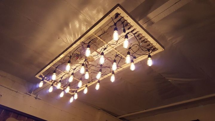 1940 s metal army cot turned light fixture, lighting, repurposing upcycling