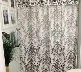 No Sew Shower Curtain Valance In No Time, Bathroom Ideas, How To,  Reupholster