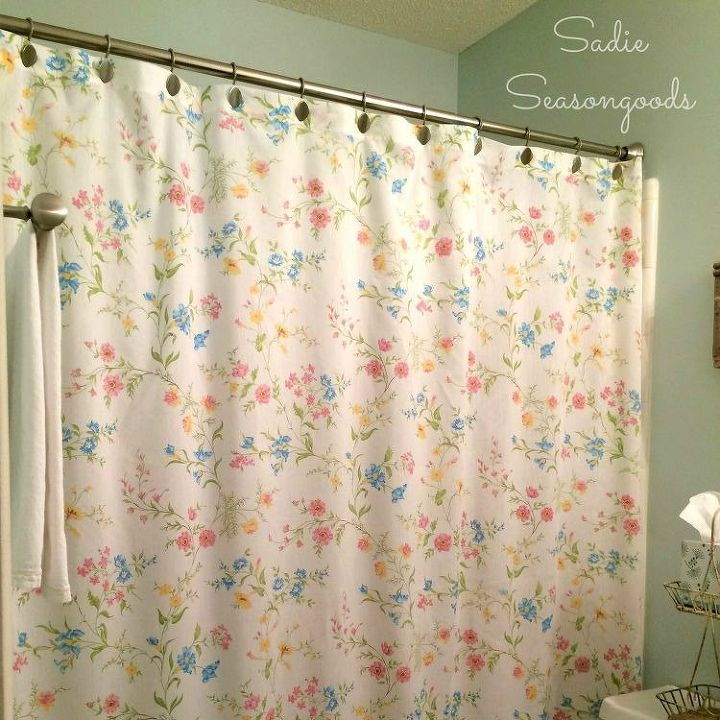 s 13 stunning vintage fabric ideas that ll send you to the thrift store, crafts, repurposing upcycling, reupholster, Bed Sheets to Shower Curtain