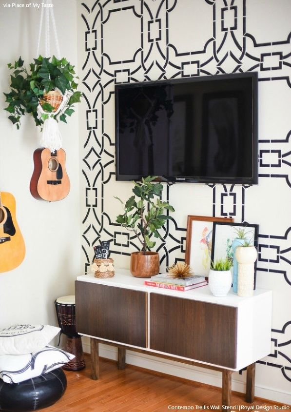 Get The Look Stencil A Boho Chic Accent Wall Hometalk