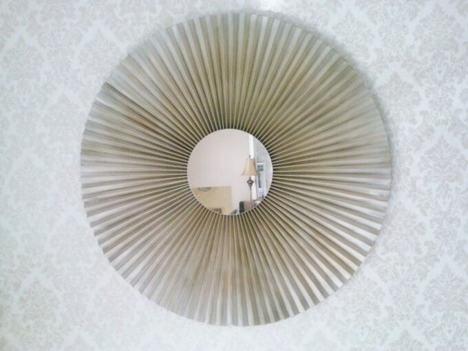 easy diy sunburst mirror from lamp shade, crafts, repurposing upcycling, wall decor, After
