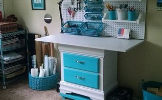 diy project craft sewing station, craft rooms, painted furniture, repurposing upcycling