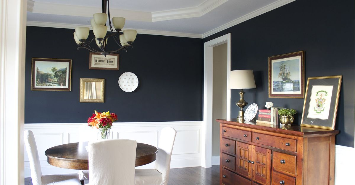 my favorite dark blue wall color a year later hometalk - Dining Room Wall Colors With Dark