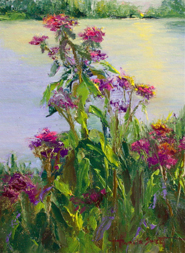 my garden paintings at the cottage, flowers, painting, Sunset with Purple original oil painting 6 x 8 It was a beautiful sunset and so peaceful as I painted