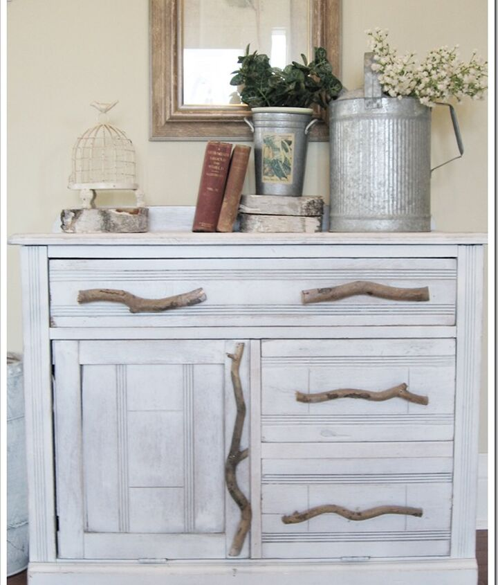 This rustic piece started as an old discarded cabinet with broken handles.