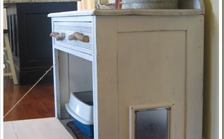 you ll never guess what s inside this cabinet, painted furniture, repurposing upcycling, rustic furniture, Coco started using it that day and it s been wonderful to have the litterbox out of the bathroom Coco loves the privacy too