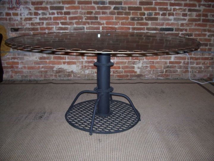 If you liked the little one, you will LOVE the big 4 footREpurposed saw blade table.