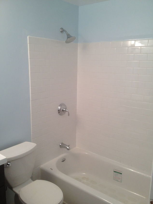 create a waterproof bathtub wall for less than 50, bathroom ideas, home maintenance repairs, how to, tiling, New Waterproof Tile Project