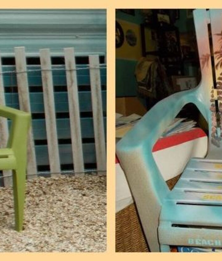 Before and After, I painted the child size Adirondack chair.