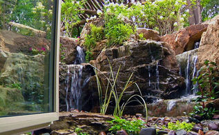 waterfalls for window wells, outdoor living, ponds water features, window treatments, windows, This basement office now has a beautiful view of a small waterfall Open the window to enjoy the sound
