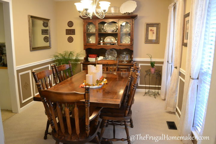 Dining room in-between.  Added wainscoting, painted, and decorated