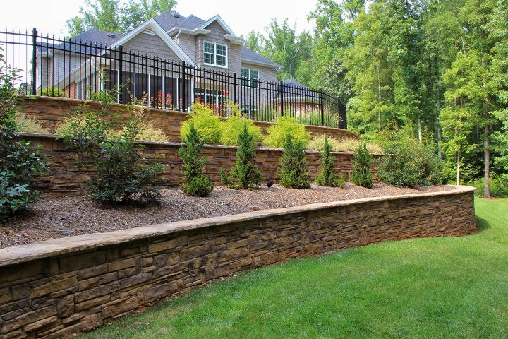 retaining wall landscape, concrete masonry, landscape, outdoor living
