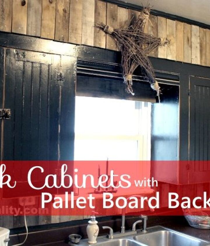 Black Chalkboard Cabinets With Pallet Backsplash Hometalk