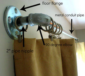 Lovely Curtain Rods Made From Galvanized Plumbing Parts A Tutorial