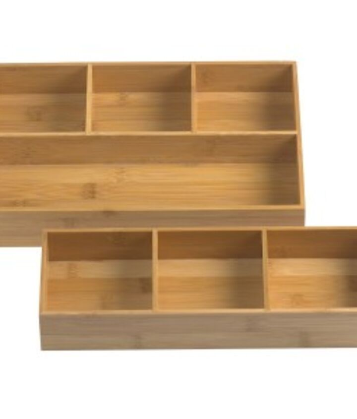 You can find modular bamboo drawer organizers like this at Bed Bath & Beyond or The Container Store