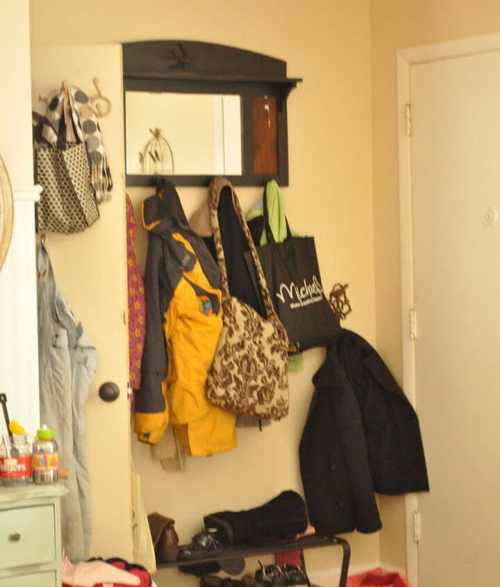 The entryway coat clutter before