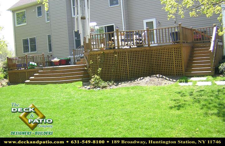 Cedar deck 3 levels with lattice and railing