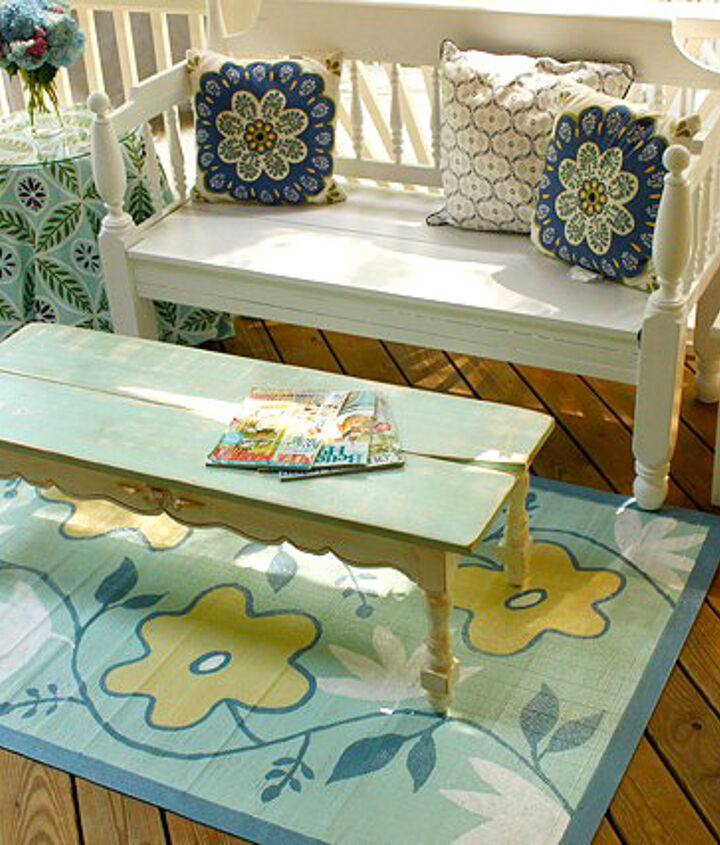 A little paint transforms a bench, table and rug
