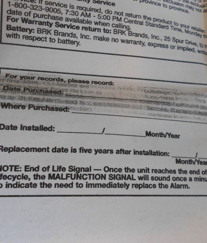 Make sure to record your information here for later reference, and as pictured here the instructions say replace after 5 years.