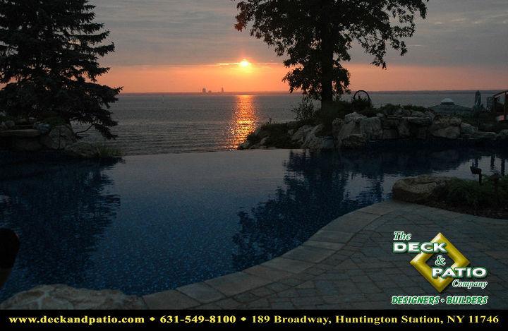 Vanishing edge pool at sunset