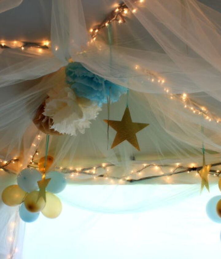 A DIY play tent was a big hit with the girls! http://justagirlblog.com/woodland-theme-party-part-2/