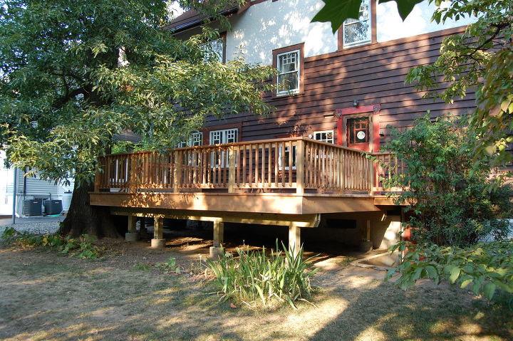 deck built around a tree, decks, outdoor living