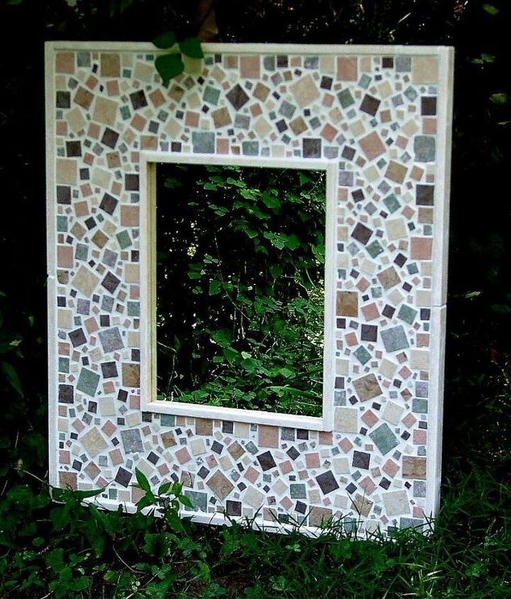 mosaic mirrors created from tile glass and hand made concrete leaves, repurposing upcycling, tiling