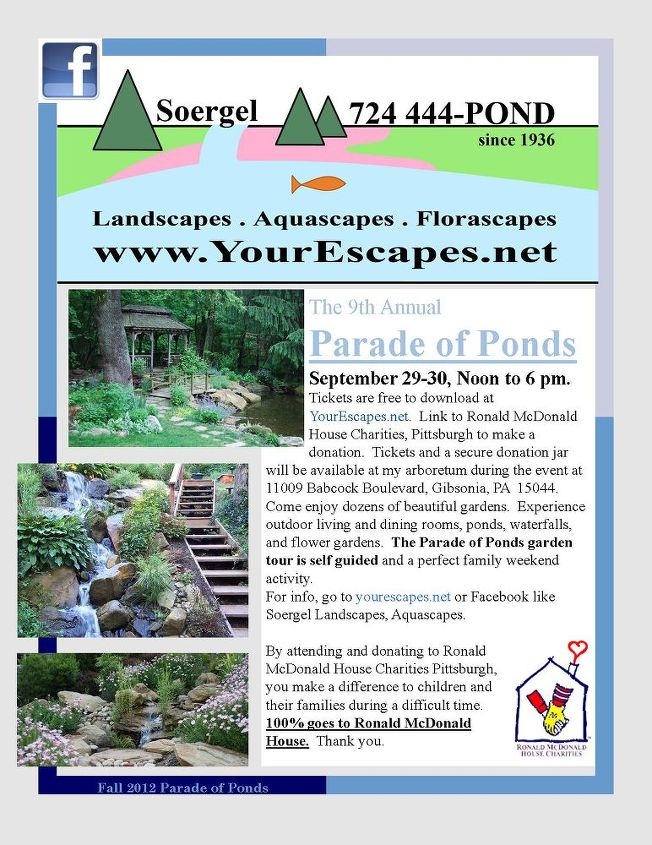 parade of ponds garden tour to benefit ronald mcdonald house charities pittsburgh, decks, flowers, gardening, landscape, outdoor living, patio, ponds water features, Tickets are free to download include descriptions addresses and directions Go to