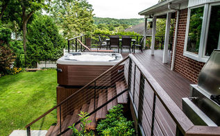 decks decks decks, decks, outdoor living, patio, pool designs, porches, spas, Deck built in Centerport New York with Trex Lava Rock Transend decking Bullfrog spa and Cable rail