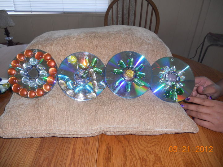 q new creations of cd disc spinners and tiers, crafts, Ocean and palm tree anna