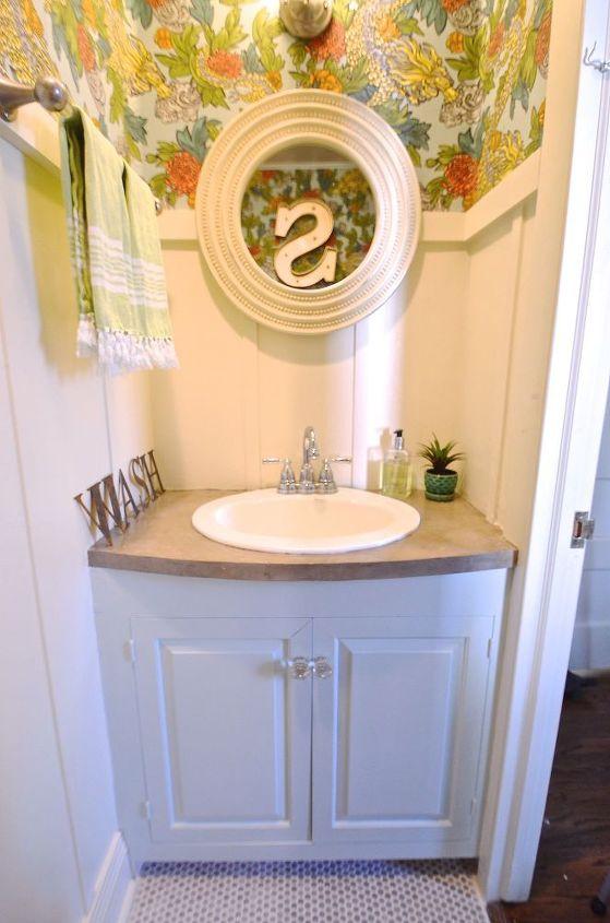 small bathroom makeover wallpaper fun bright, bathroom ideas, countertops, diy, flooring,