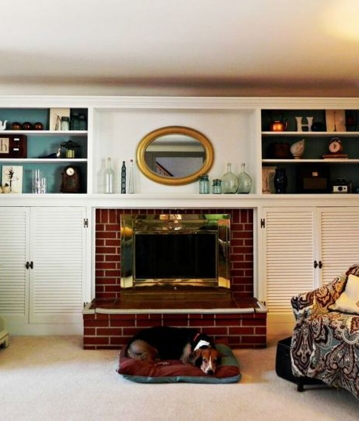 The repainted and restyled fireplace and built-ins.