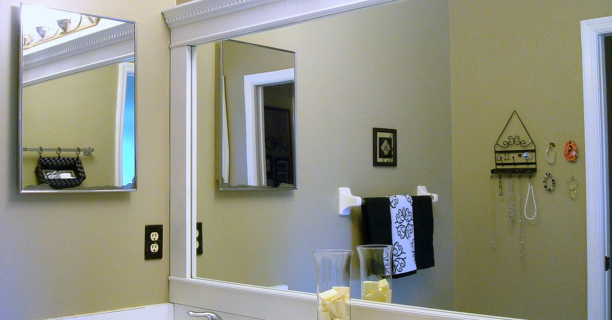 Bathroom Mirror Framed With Crown Molding Hometalk Extraordinary Bathroom Crown Molding