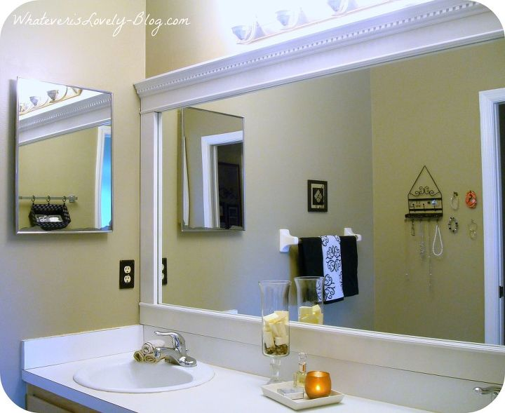 Framed Bathroom Mirror with Crown Molding
