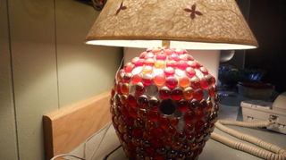 q my recent jewelry tiers, crafts, Old Bean pot lamp This is so much better than bowling balls and easier