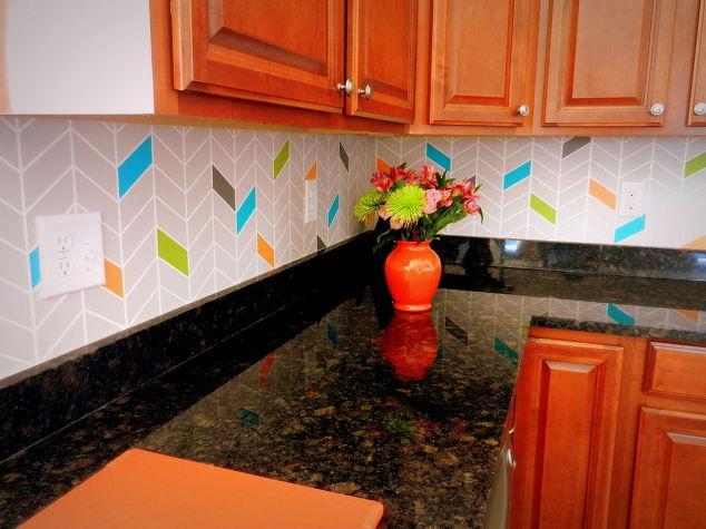 kitchen backsplash colorful painted, diy, kitchen backsplash, kitchen design