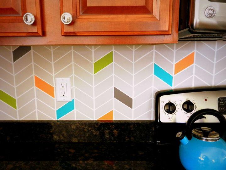 Kitchen Backsplash Colorful Painted Diy Design