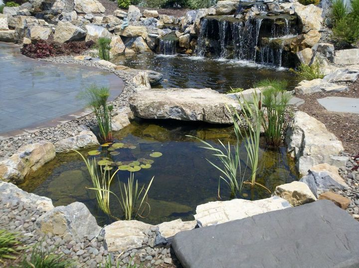 pond stream and cambridge patio project in shoreham long island, decks, landscape, outdoor living, patio, ponds water features, 25 x 12 pond